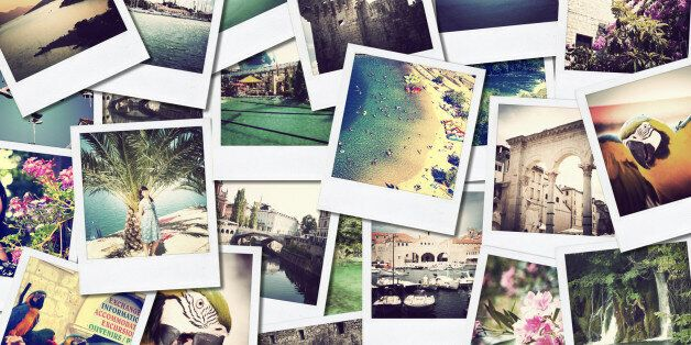 mosaic with pictures of different places and landscapes, shooted by myself, simulating a wall of snapshots...