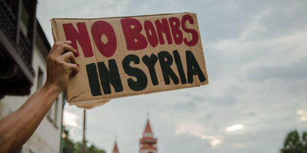 Protest against US military strikes in Syria. Saint Augustine, Florida. September 5,