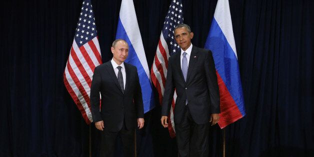 NEW YORK, NY - SEPTEMBER 28: (AFP OUT) Russian President Vladimir Putin and U.S. President Barack Obama...