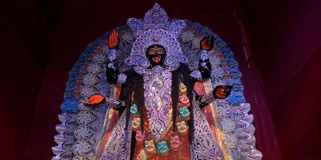 Goddess Kali, Kali Puja Festival, Kolkata, West Bengal, India. (Photo by: IndiaPictures/UIG via Getty