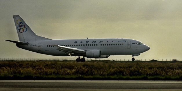 The boeing 737-300 of Greek Olympic ariways is seen before taking off from Cyprus to re-enact the course...