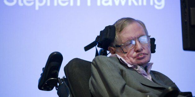 British theoretical physicist professor Stephen Hawking speaks to members of the media at a press conference...