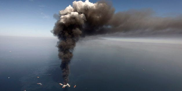 FILE - In this April 2010 file photo, oil can be seen in the Gulf of Mexico, more than 50 miles southeast...