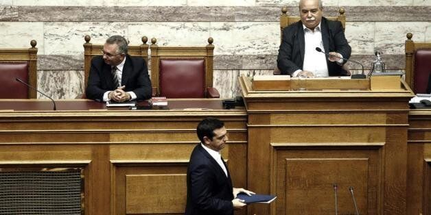 Greek Prime Minister Alexis Tsipras attends a swearing-in ceremony of the new deputies that were elected...