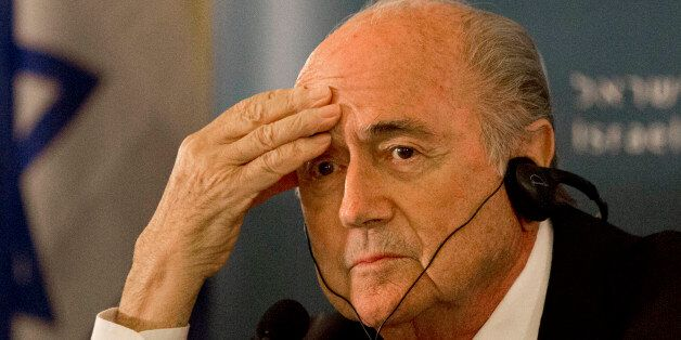 FIFA President Sepp Blatter attends a press conference in Jerusalem, Tuesday, May 19, 2015. Blatter said...