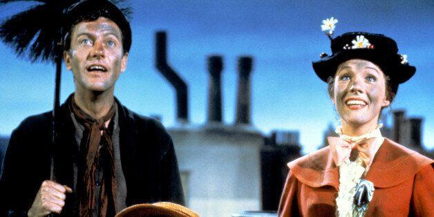 Dick Van Dyke as Bert, Julie Andrews as Mary Poppins, Karen Dotrice as Jane Banks and Matthew Garber...