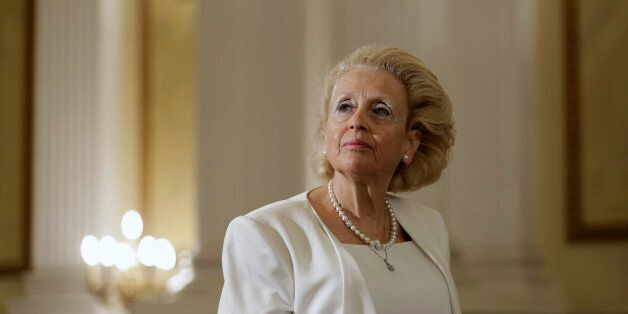 Vassiliki Thanou, 65, stands during a swearing in ceremony at the Presidential Palace in Athens, Thursday,...
