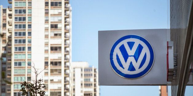 CHICAGO, IL - SEPTEMBER 22: A sign marks the location of a Volkswagen dealership on September 22, 2015...