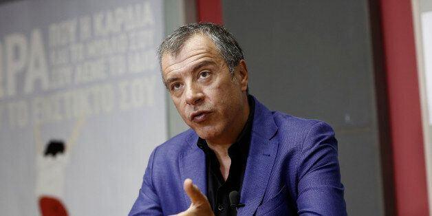 Stavros Theodorakis, leader of the To Potami party, speaks during a Bloomberg Television interview in...