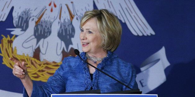 Democratic presidential candidate Hillary Rodham Clinton speaks during a campaign stop in Baton Rouge,...