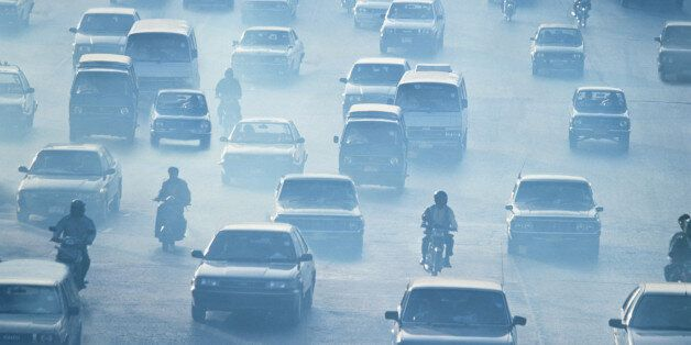 Traffic driving in pollution, Bankok,