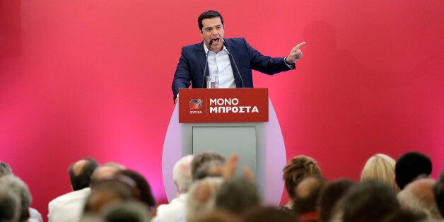 Outgoing Greek Prime Minister and the Syriza party leader Alexis Tsipras speaks to a gathering of his...