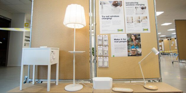 ALMHULT, SWEDEN - MAY 12: IKEA is launching a collection of furniture that can wirelessly charge electronic...