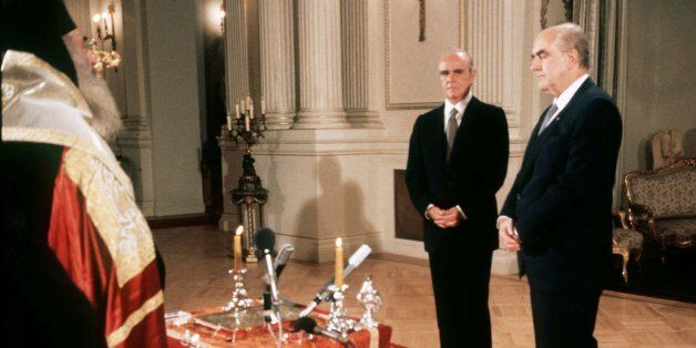 FILE--Former Greek prime minsiter Andreas Papandreou, center, during his swearing in ceremony as prime...