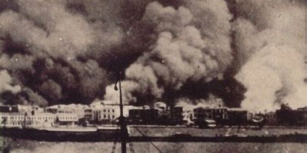 A handout picture shows the Aegean city of Izmir burning on Spetember 14, 1922. A US television series...