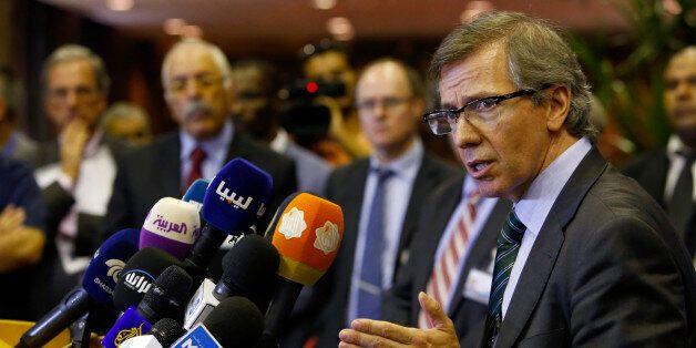 U.N. representative for Libya, Bernardino Leon, gestures as he addresses reporters in Skhirat, Morocco,...