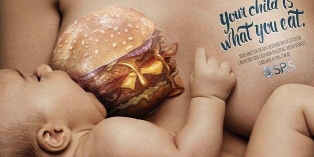 Μία ανατρεπτική διαφήμιση: Μητέρες με τα στήθη τους ζωγραφισμένα fast food θηλάζουν τα μωρά