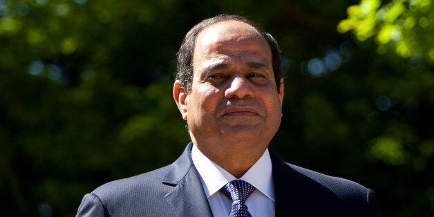 President of the Republic from Egypt, Abdel Fattah Al Sisi poses for the media during his meeting with...