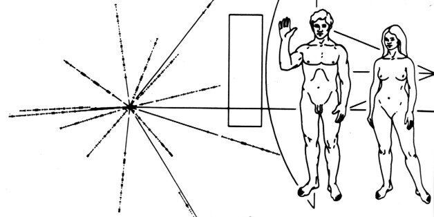 FILE - This undated handout photo shows the design of a plaque that was carried on the Pioneer 10 spacecraft....