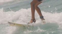 Ταλαντούχα σέρφερ δάμασε τα κύματα φορώντας τα τακούνια
