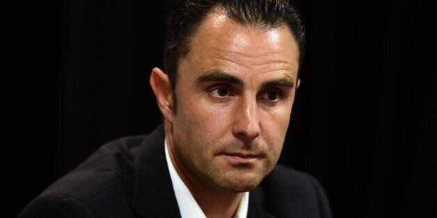 Former employee of HSBC Private Bank in Geneva, French Herve Falciani, looks on during a press conference...