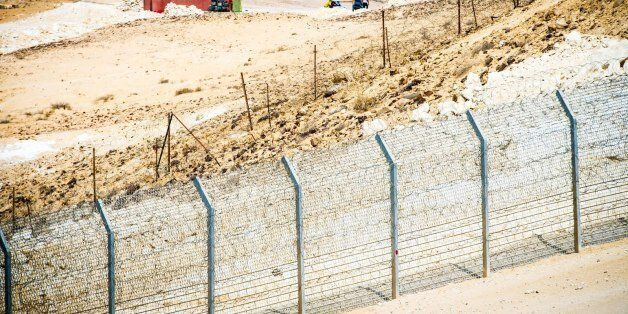 Photo By David Katz View of the Sinai overlooking Egypt from Mitzpe Bar-Lev and the Security fence in...
