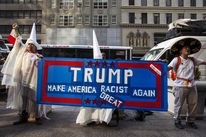 Demonstrators protest Donald Trump's candidacy for president outside Trump Tower in September 2015.