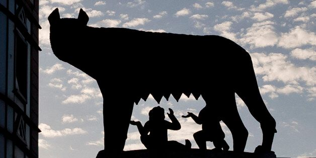 The statue of the she wolf feeding the mythical founders of the city of Rome, the twins Romulus and Remus,...