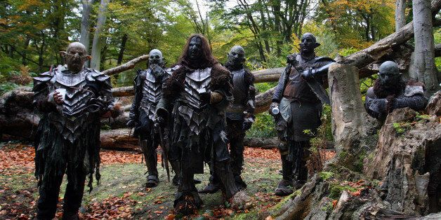 LONDON - OCTOBER 25: Orcs take a rest from filming in Epping Forest for a new chapter based on the epic...