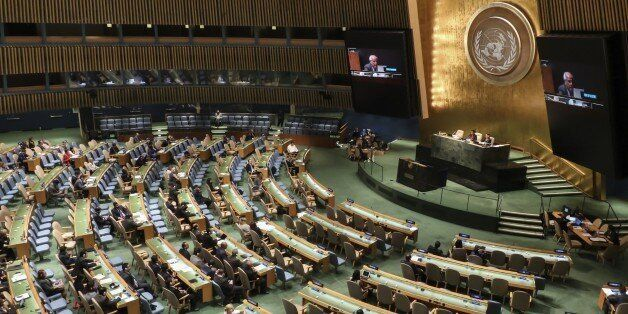 NEW YORK, NY - SEPTEMBER 10: Riyad Mansour the Palestinian representative to the UN speaks after the...