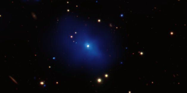 NASA's Chandra X-ray Observatory has observed an unusual galaxy cluster that contains a bright core of...