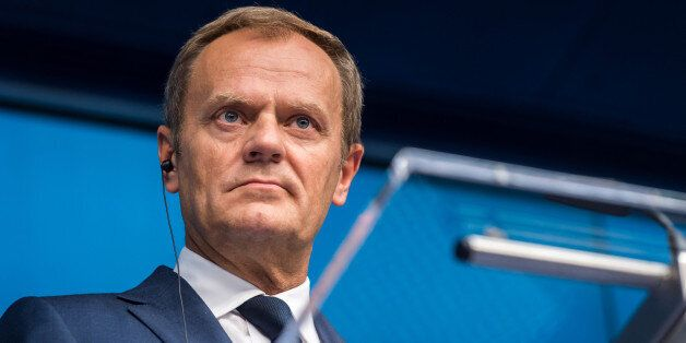 European Council President Donald Tusk speaks during a final media conference after an EU summit in Brussels...