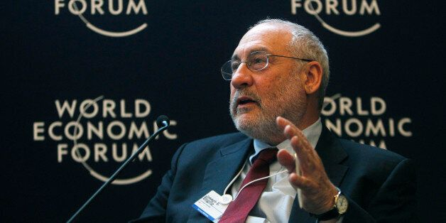 Professor of the Columbia University Joseph E. Stiglitz gestures as he speaks during a session at the...
