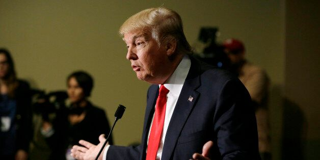 Republican presidential candidate Donald Trump speaks during a news conference, Tuesday, Aug. 25, 2015,...