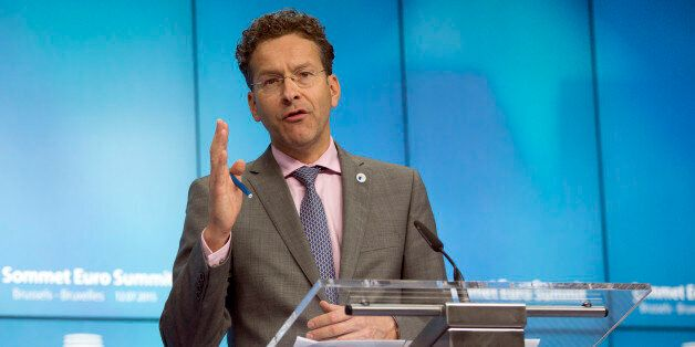 Dutch Finance Minister and chair of the eurogroup finance ministers Jeroen Dijsselbloem speaks during...
