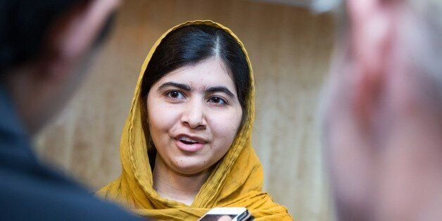 Nobel Peace Prize Laureate Malala Yousafzai talks to journalists during the Oslo Summit on Education...