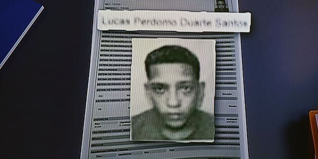 Screenshot from TV of a photo issued by Brazilian police of 20-year-old Lucas Perdomo Duarte Santos,...