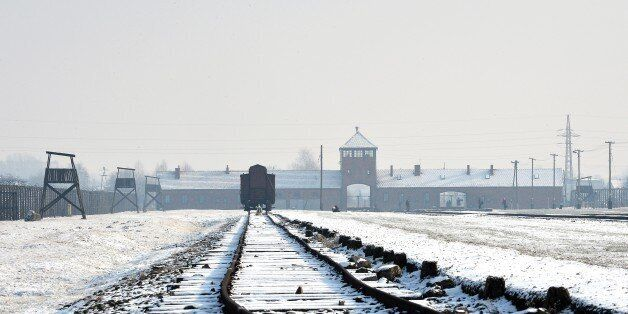 View of the rail way tracks at the former Nazi concentration camp Auschwitz-Birkenau in Oswiecim, Poland,...