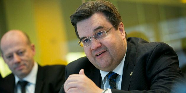 Denis Coderre, mayor of Montreal, speaks during an interview in New York, U.S., on Monday, April 14,...