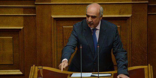 ATHENS, GREECE - 2015/07/16: Vangelis Meimarakis deputy president of New Democracy talks to the Greek...