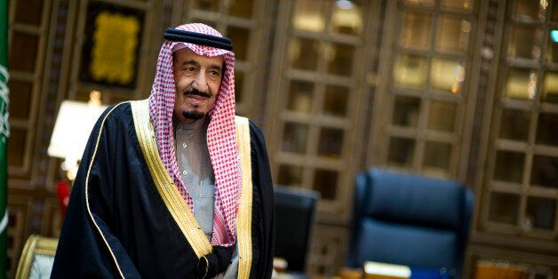 Saudi Arabian Minister of Defense Crown Prince Salman bin Abdulaziz Al Saud welcomes Secretary of Defense...