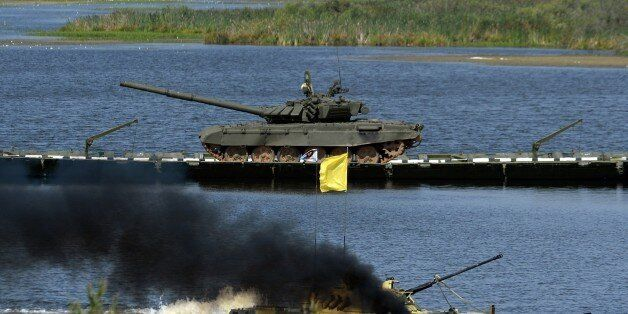 A Russian armored personel carrier takes part in the International army games in Alabino outside Moscow...