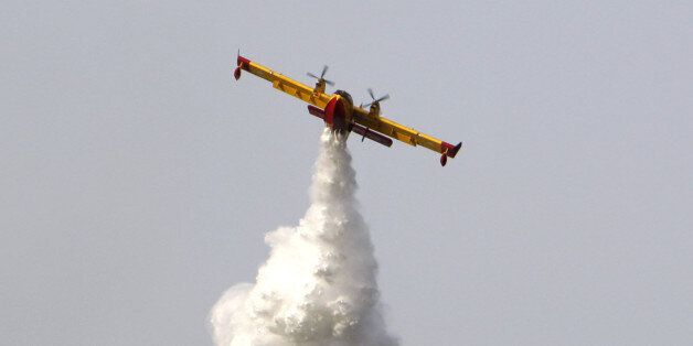 A Canadair plane helps to battle a forest fire near the village of Panaktos, some 40 kilometers (25 miles)...