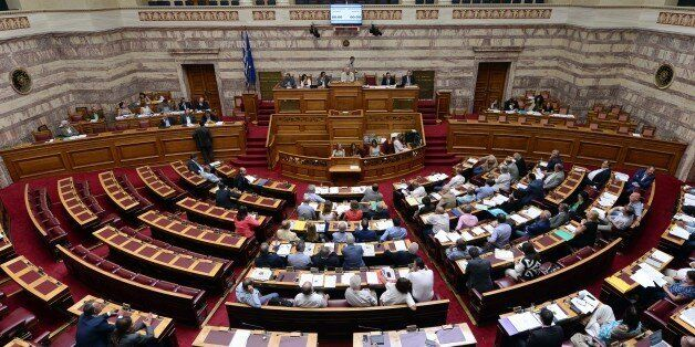 A general view shows a debate of Greek parliament commissions prior to a plenary session in Athens on...
