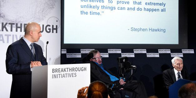 LONDON, ENGLAND - JULY 20: (L-R) DST Global Founder Yuri Milner, Theoretical Physicist Stephen Hawking...