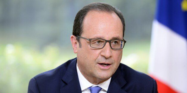 French President Francois Hollande speaks during the annual television interview on Bastille Day at the...