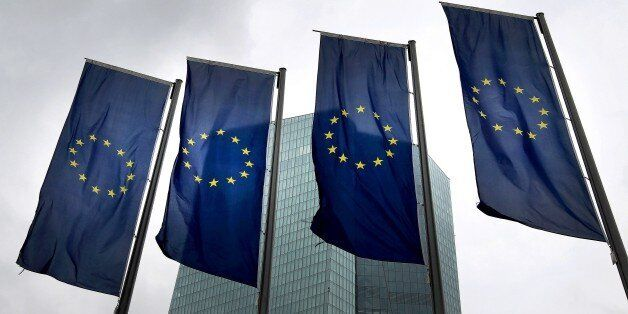 Flags of the European Union are displayed outside the headquarter of the European Central Bank (ECB)...
