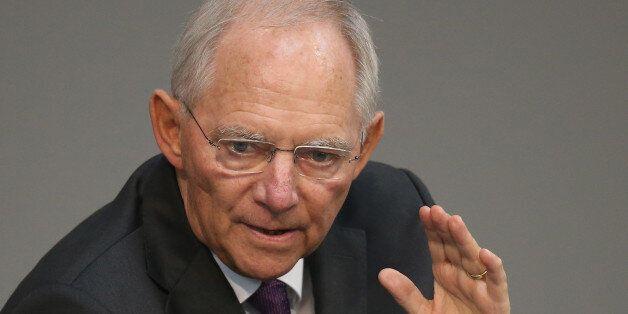BERLIN, GERMANY - JULY 17: German Finance Minister Wolfgang Schaeuble speaks during debates prior to...
