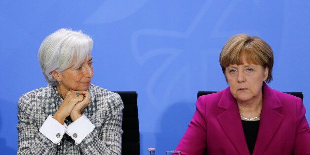 German Chancellor Angela Merkel, right, and Christine Lagarde, Managing Director of the International...