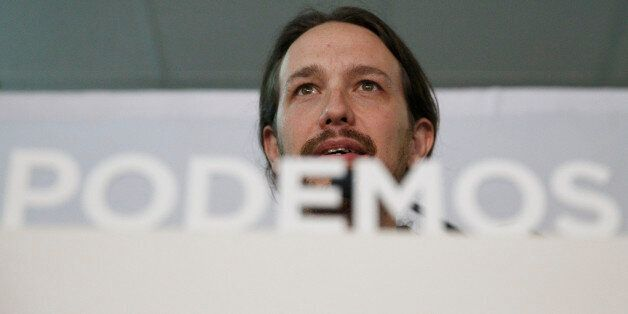 Pablo Iglesias, leader of the Podemos (We Can) party gives a speech to celebrate the party results after...
